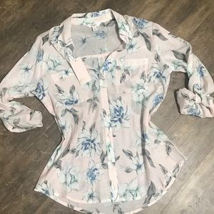 Candies floral pink button up size small